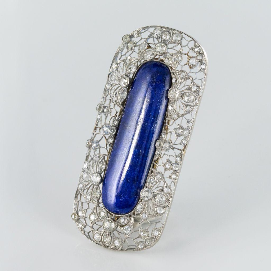 Broche ancienne diamants et lapis lazuli