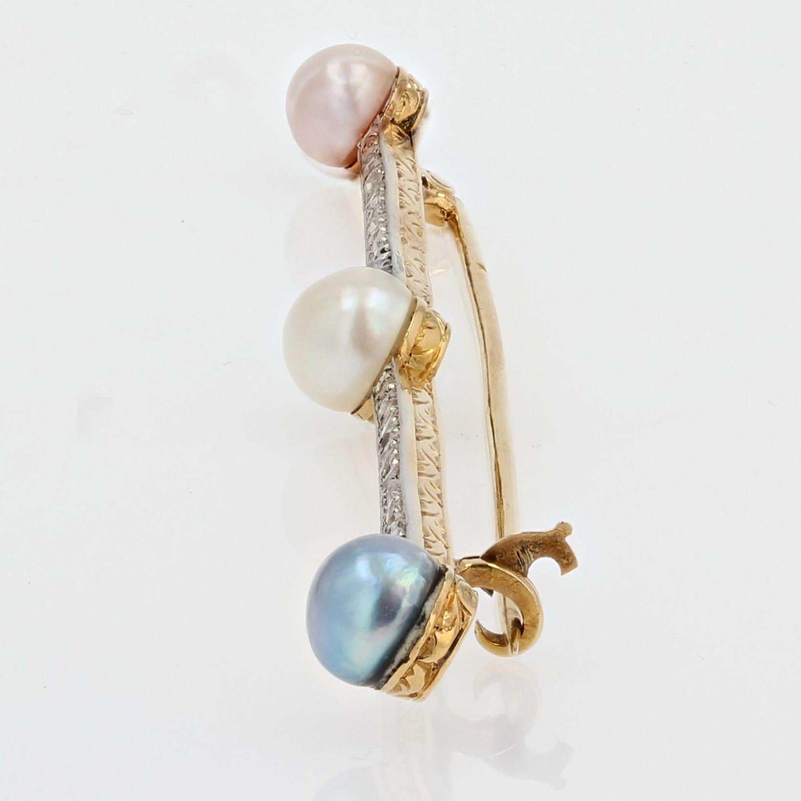 Broche ancienne diamants perles fines