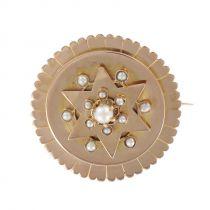 Broche ancienne en or rose et perles fines