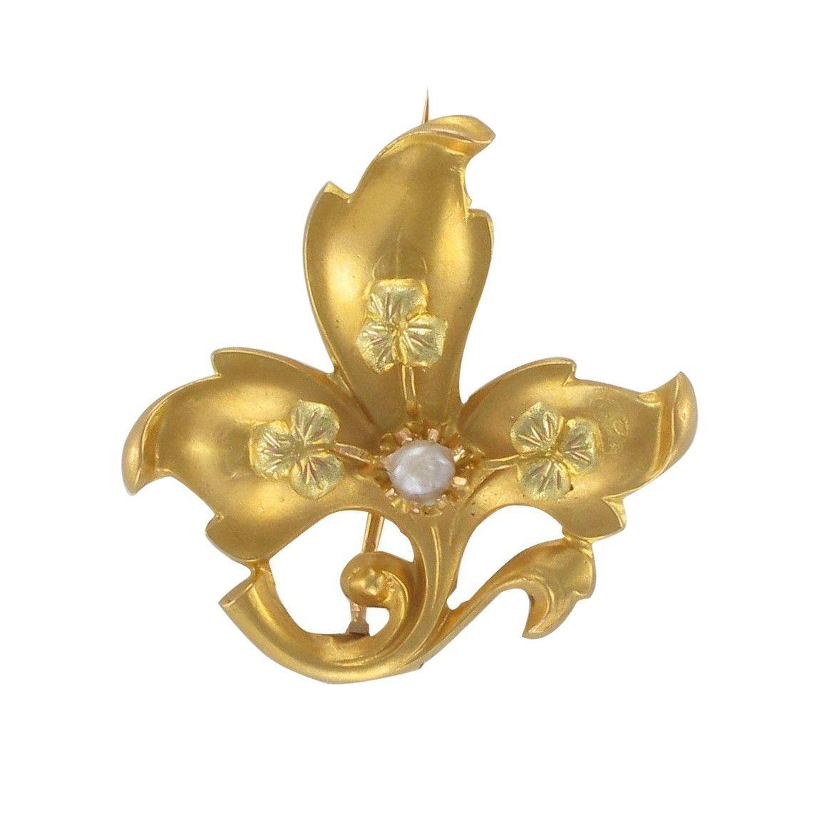 Broche ancienne fleur de lys et perle fine
