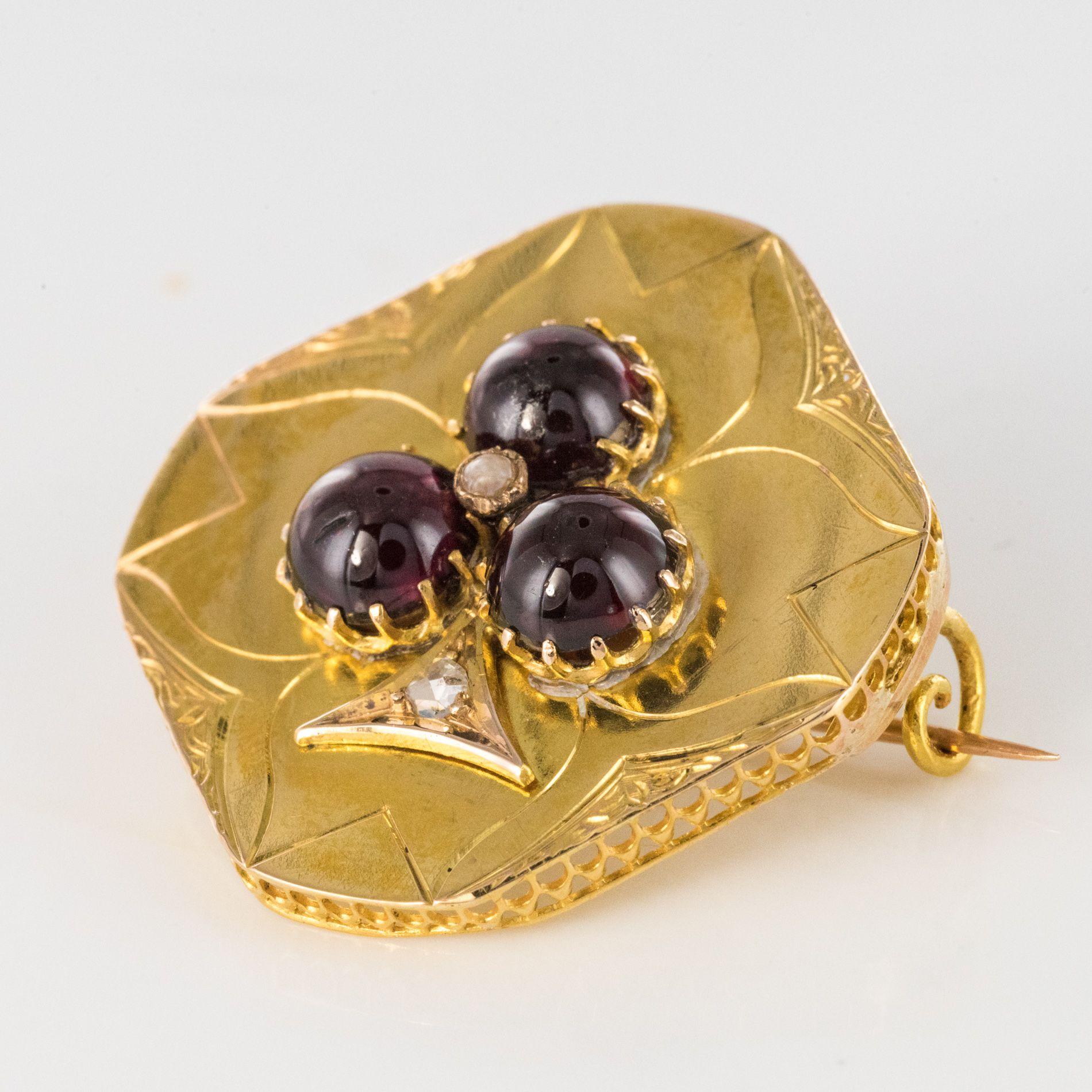 Broche ancienne grenats cabochons et diamants