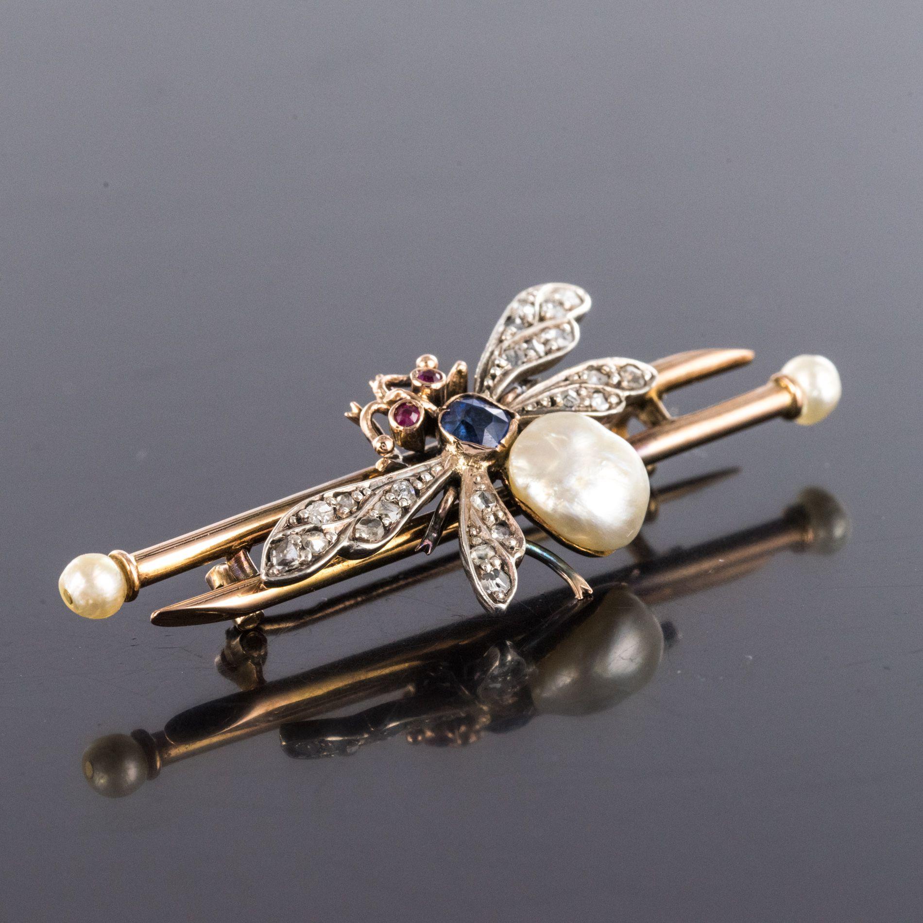 Broche ancienne insecte perle fine saphir et diamants