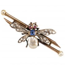 Broche ancienne insecte perle fine saphir et diamants