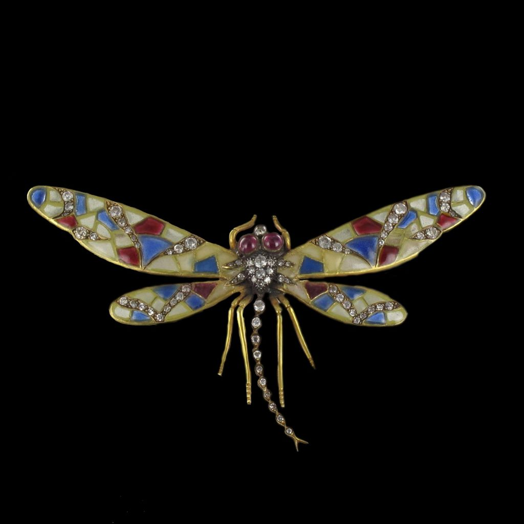 Broche ancienne libellule rubis, diamants et émail  DV