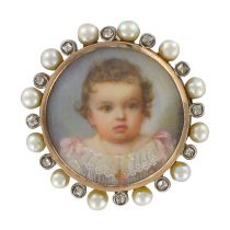Broche ancienne miniature perles fines et diamants