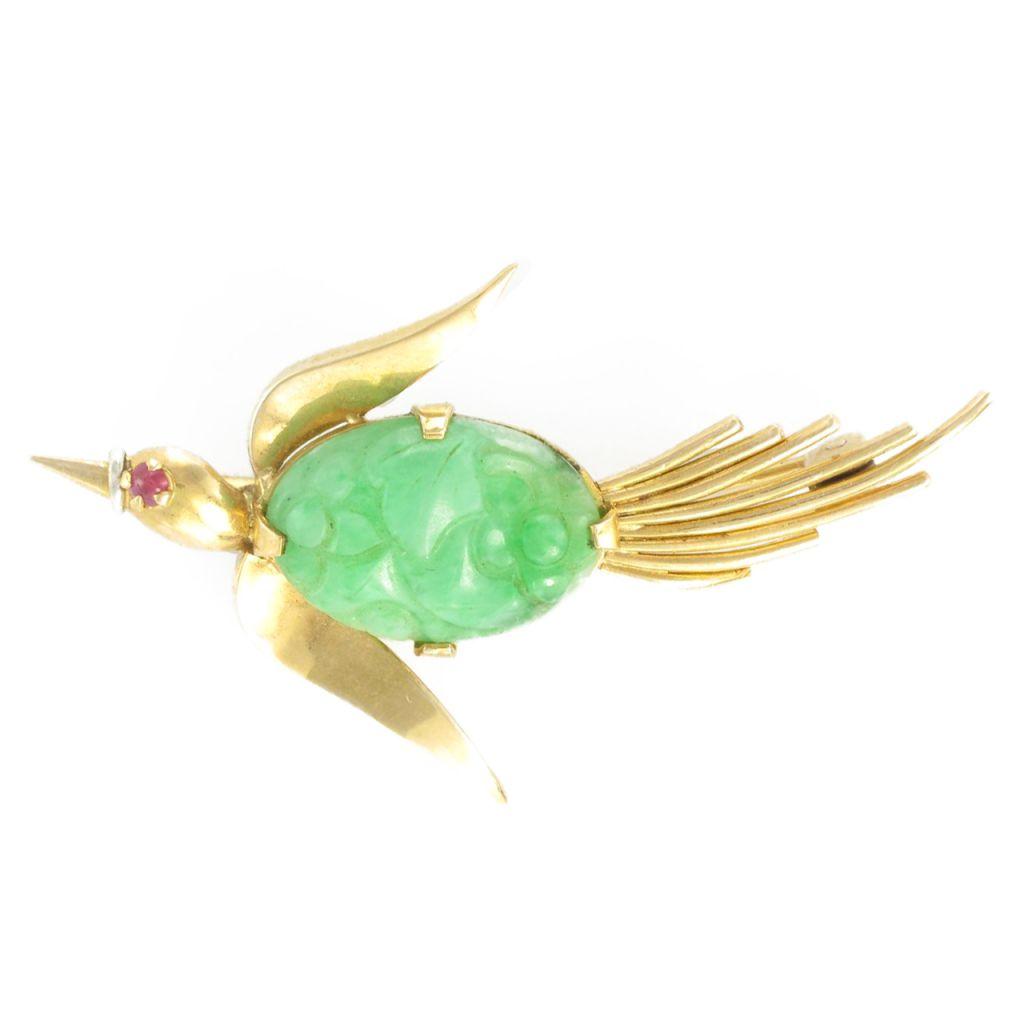 Broche ancienne oiseau jade et rubis