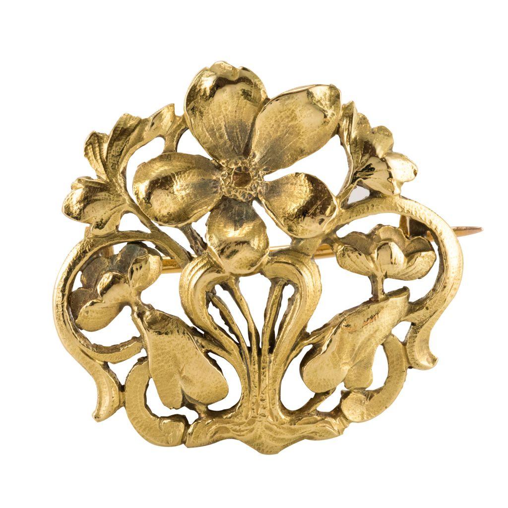 Broche ancienne or Art nouveau
