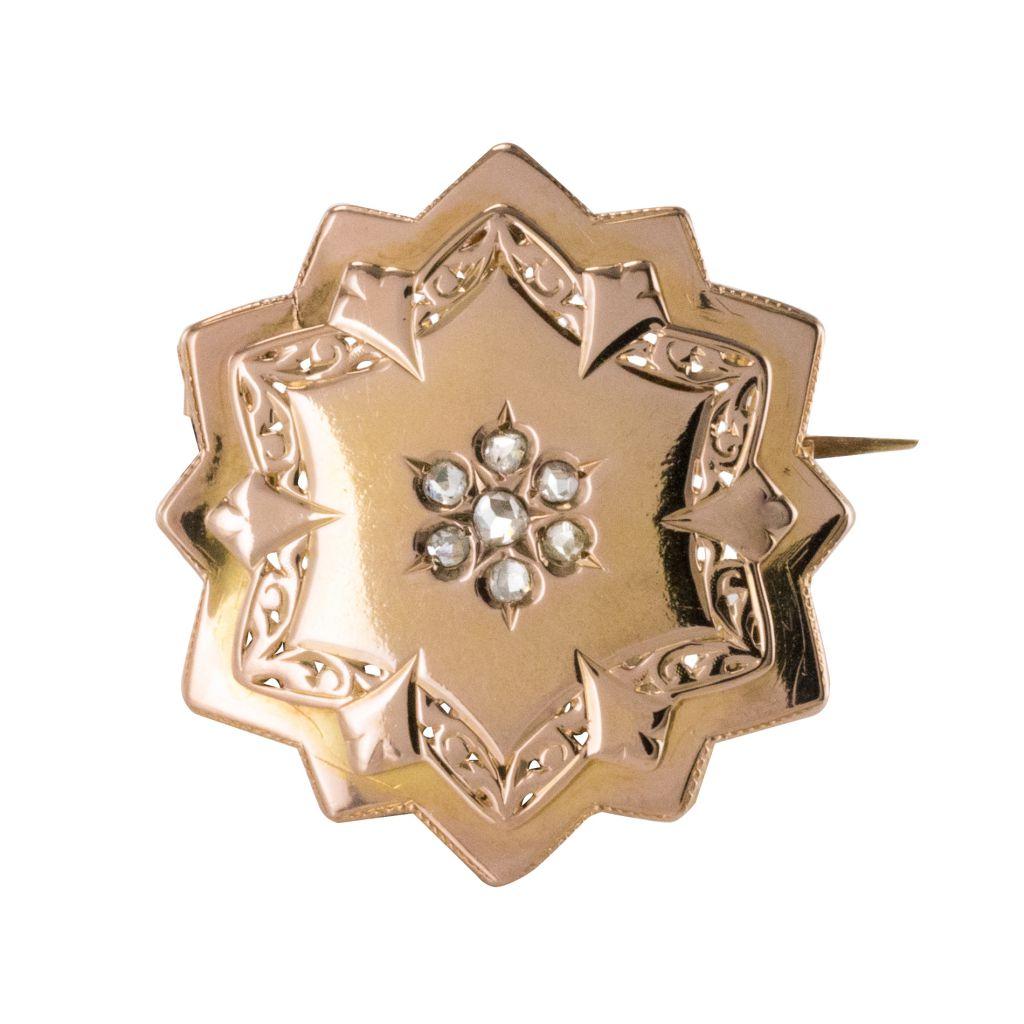 Broche ancienne or rose et diamants