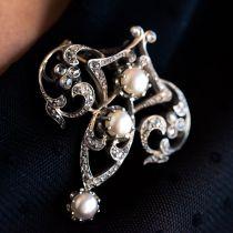 Broche ancienne Perles et Diamants