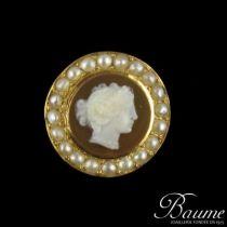 Broche ancienne Perles fines et Camée