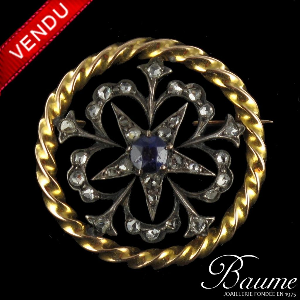 Broche ancienne saphir et diamants