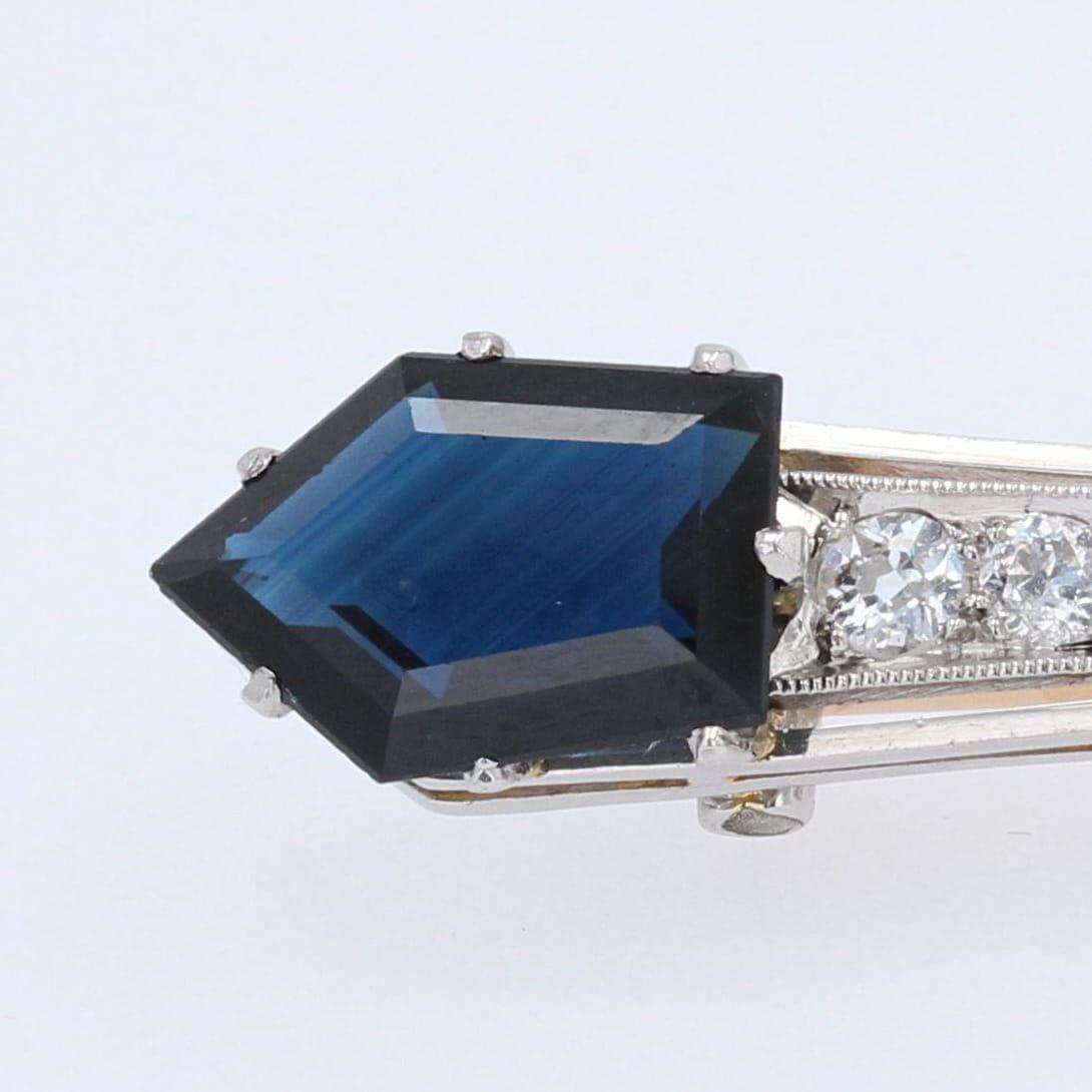 Broche ancienne saphirs diamants barrette