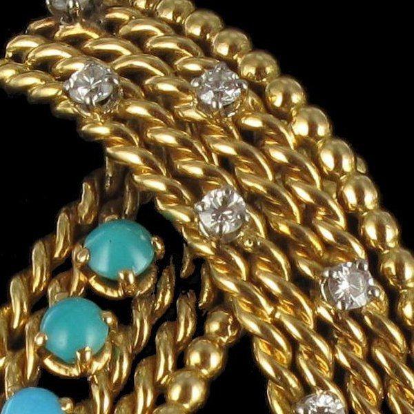 Broche ancienne turquoises et diamants