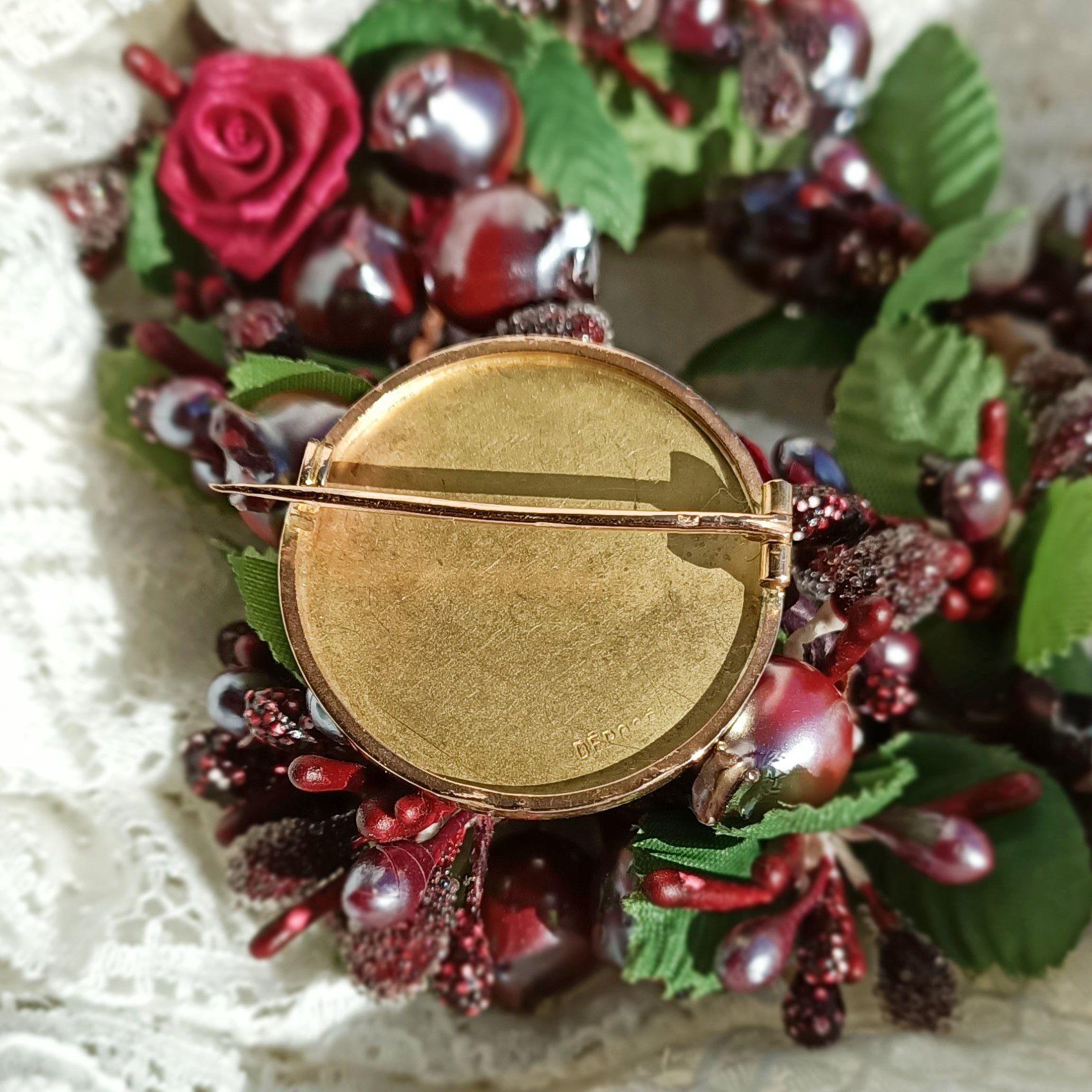 Broche art nouveau or et diamants taillés en rose