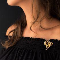 Broche art nouveau rubis perles