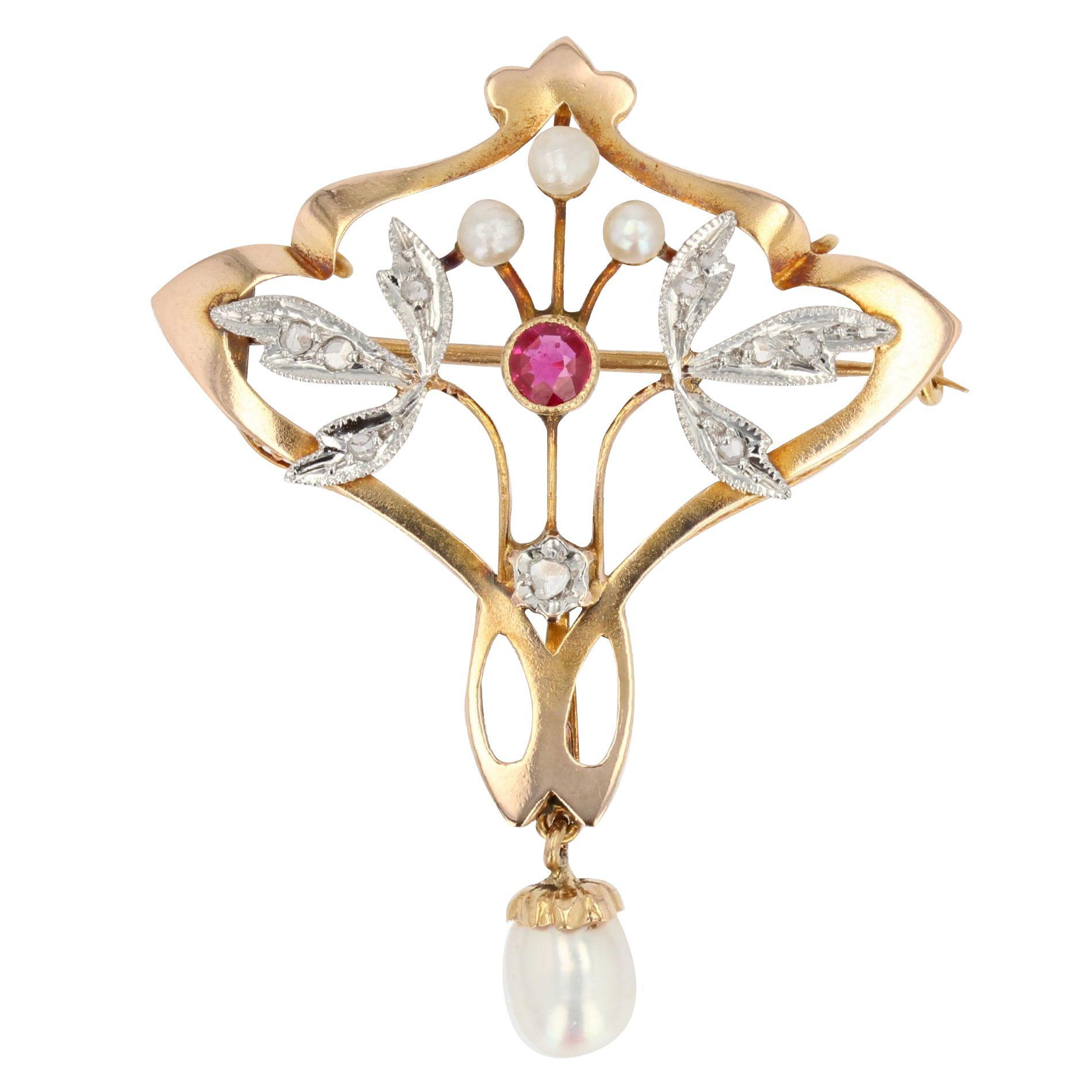 Broche Belle Epoque perles diamants rubis