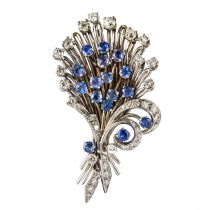 Broche bouquet saphirs diamants