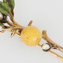 Broche branche de citronnier émail et perles fines