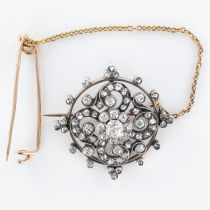 Broche diamants ancienne or rose et argent