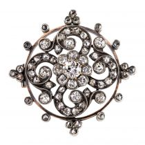 Broche diamants ancienne or rose et argent