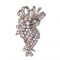 Broche diamants brillants et baguettes