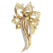 Broche diamants et or
