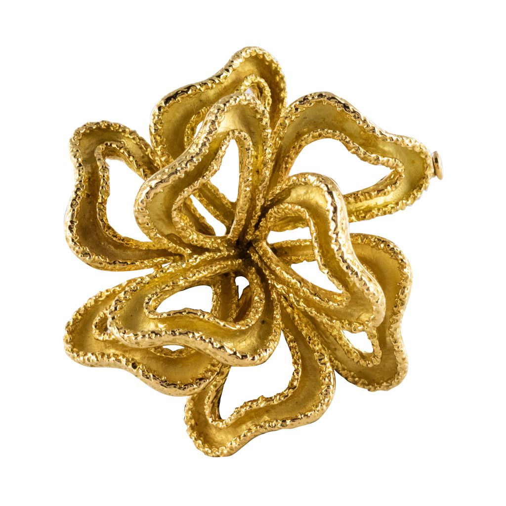 Broche en or jaune nœud