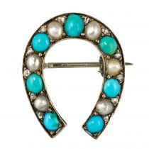 Broche fer à cheval turquoises perles fines diamants