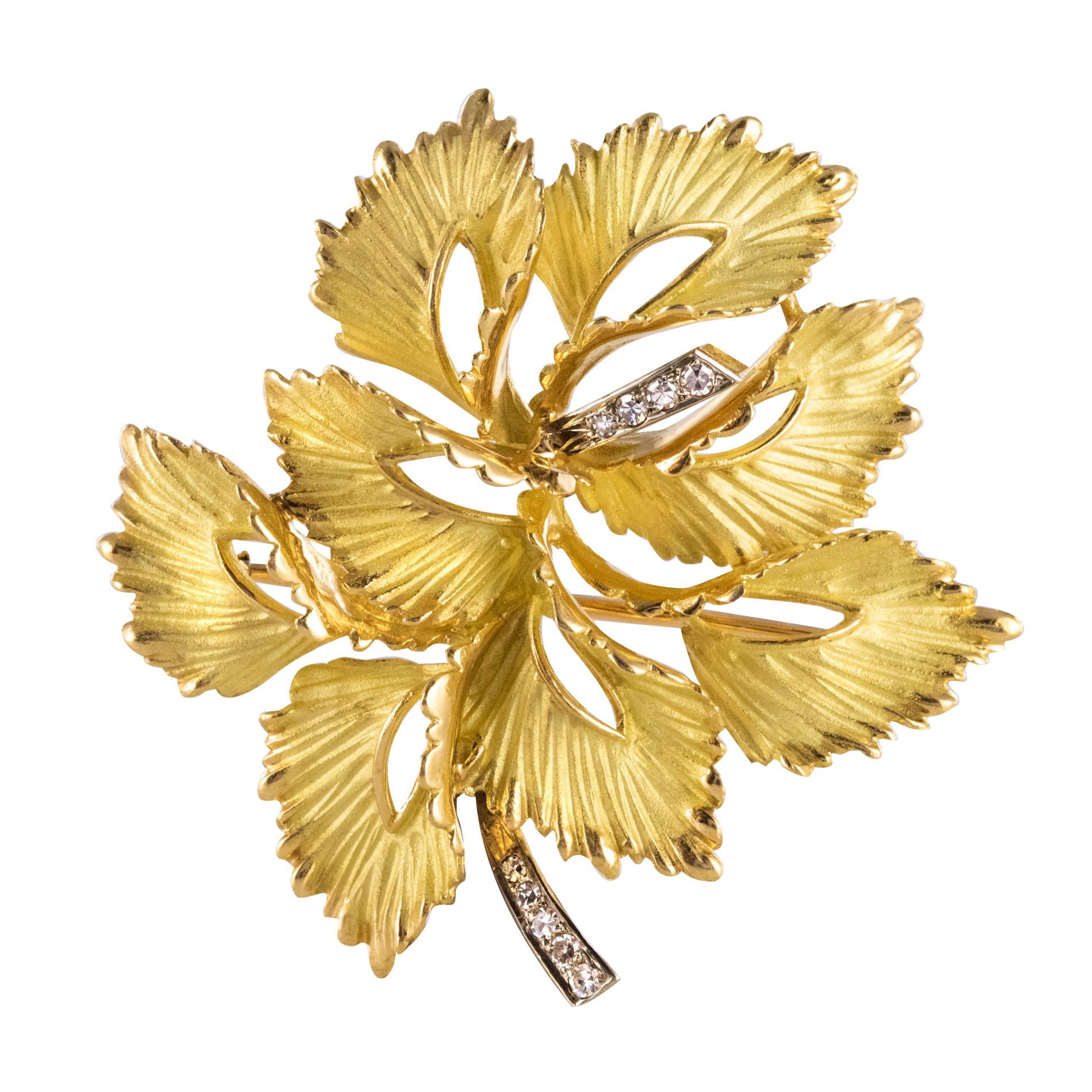 Broche Feuille Or mat et Diamants