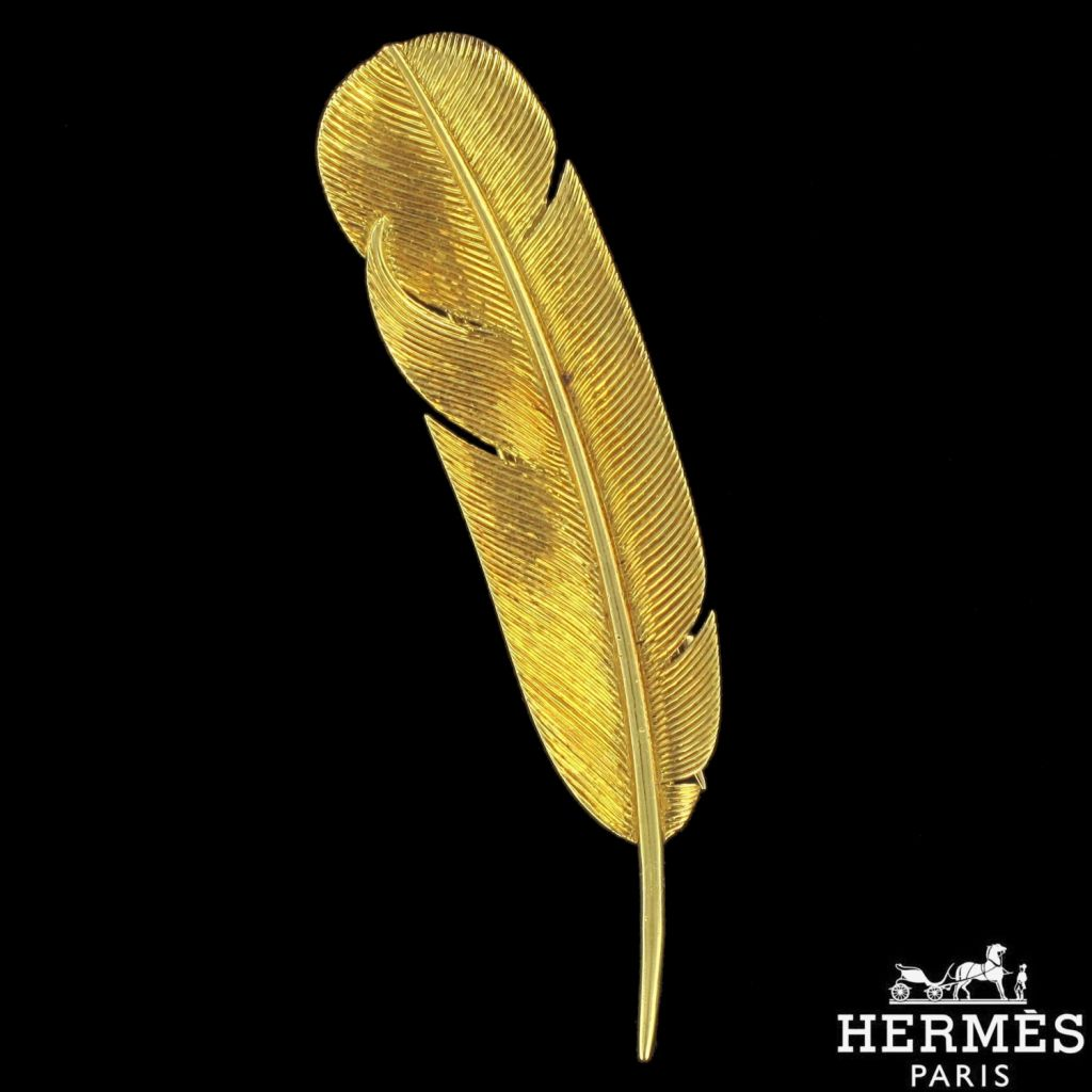 Broche Hermès en or plume