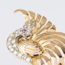 Broche oiseau de paradis diamants