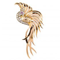 Broche oiseau de paradis diamants