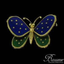 Broche papillon émail et or
