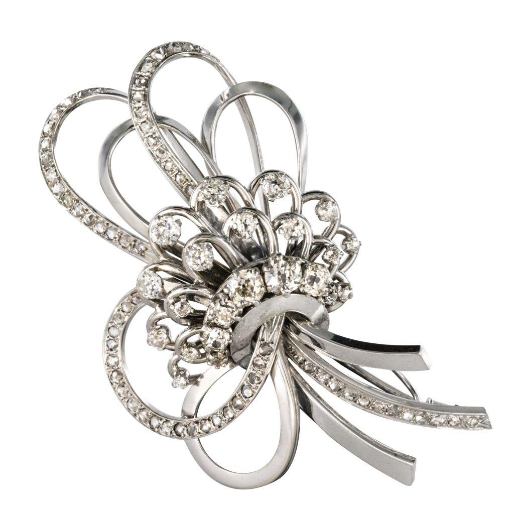 Broche Pendentif diamants gerbe de fleurs