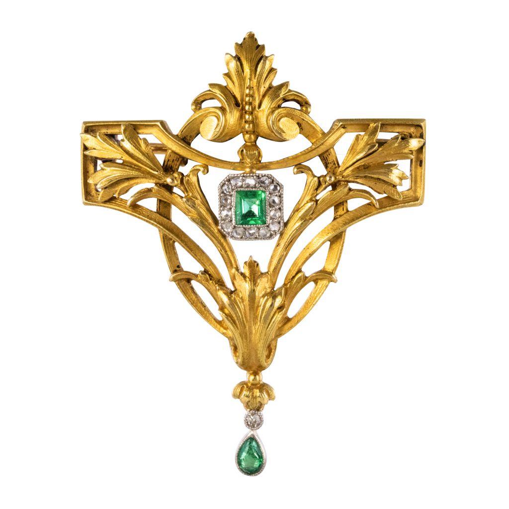 Broche Pendentif émeraudes diamants
