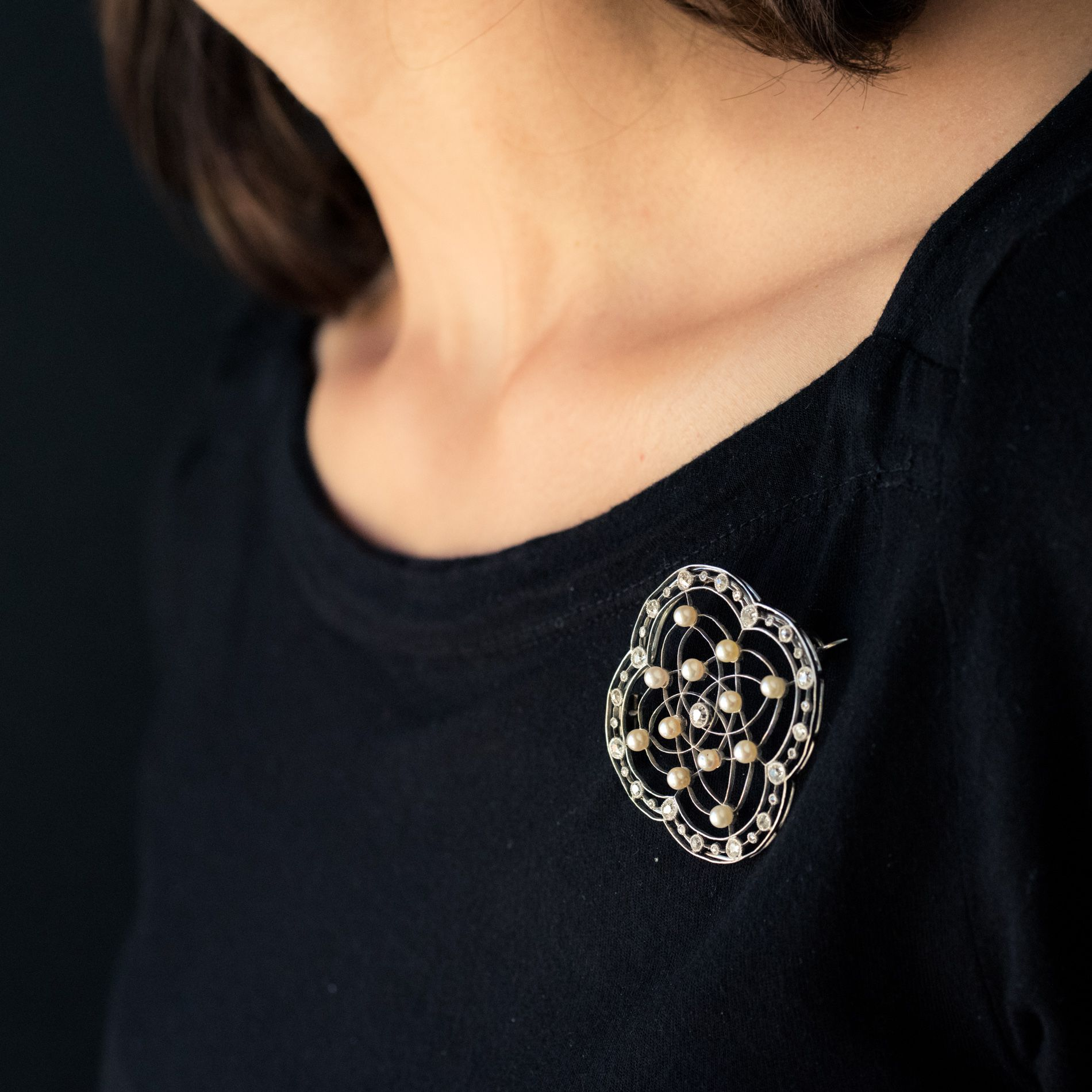 Broche perles fines et diamants belle époque