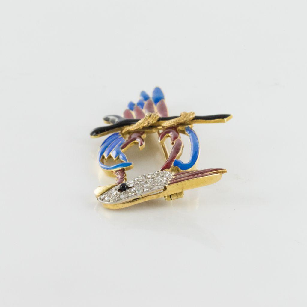 Broche perroquet émail diamants