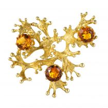 Broche rétro zircons oranges