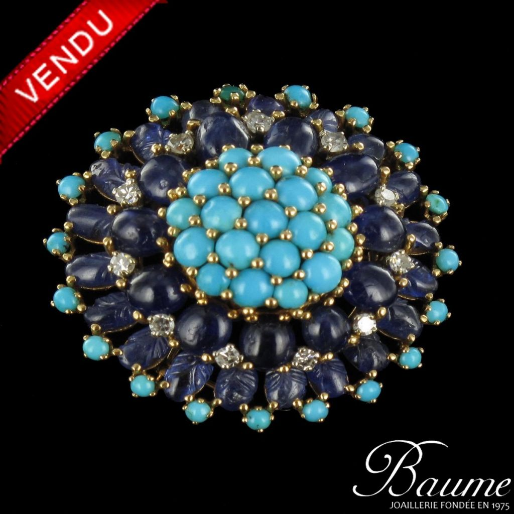 Broche saphirs, turquoises et diamants