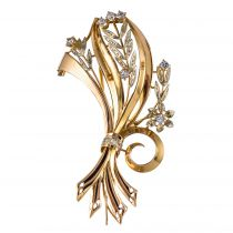 Broche vintage bouquet de fleurs diamants et aigue- marines