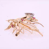 Broche vintage oiseau de paradis diamants émeraudes rubis