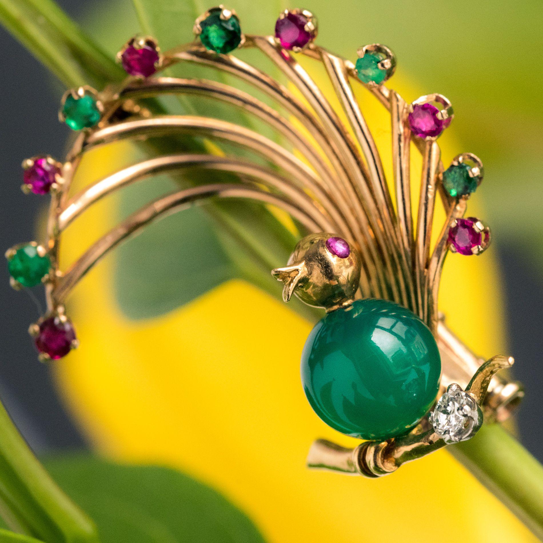 Broche vintage oiseau rubis émeraude chrysoprase et diamant