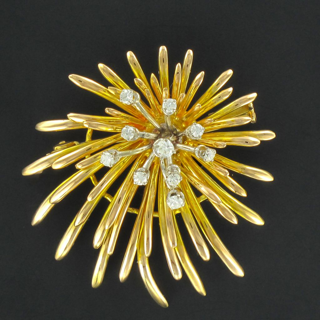 Broche vintage or diamants