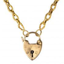 Chaine ancienne ciselé et son cadenas en forme de cœur