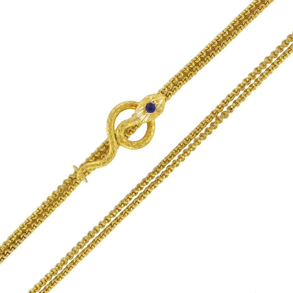 Chaine ancienne en or et son coulant serpent