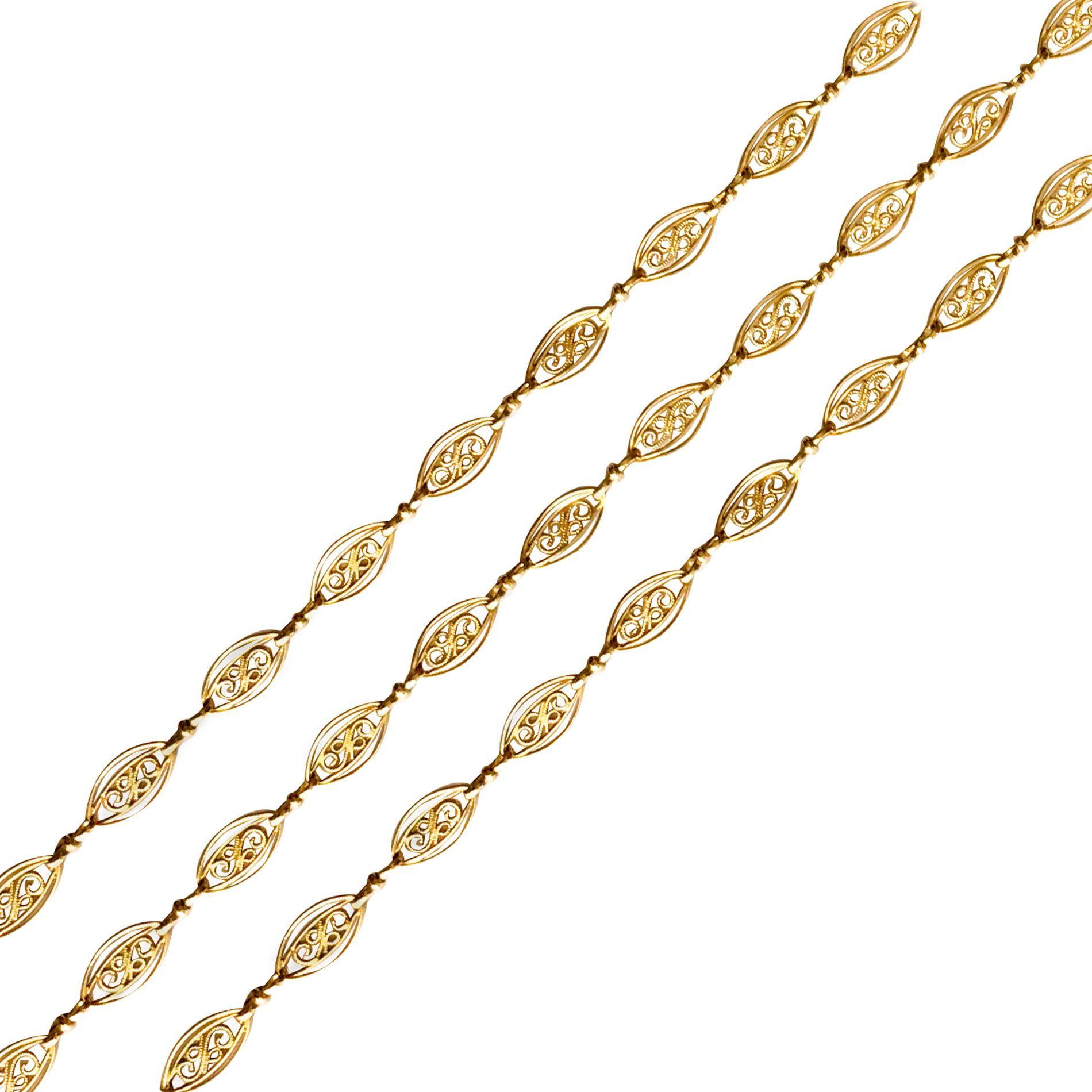 Chaine ancienne sautoir or jaune filigranes