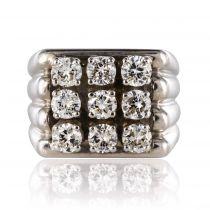 Chevalière diamants or blanc ancienne