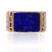 Chevalière or et lapis lazuli