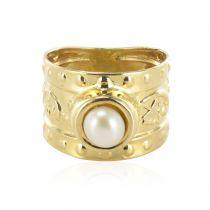 Chevalière or jaune et perle