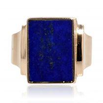 Chevalière vintage lapis lazuli et or
